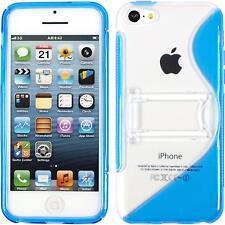 Coque en Silicone Apple iPhone 5c - pied support bleu + films de protection