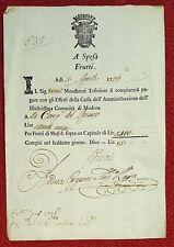 2824-DUCATO DI MODENA, INTERESSI DOVUTI ALLA COMPAGNIA DEL ROSARIO, 1776