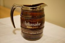 "Ambassador Deluxe Scotch Whisky Porcelain Barrel Shaped Water Jug 5.5"" Tall"