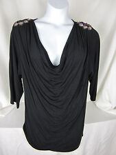 WD. NY Woman 2X Knit top Black Sequin Epaulets Purple Plunging Neckline NWT