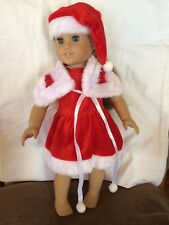 "*Santa Dress Fits 18"" American Girl,Our Generation 3 Piece Outfit Hat NO DOLL"