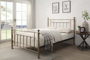 Metal Bed Frame with Brushed Brass Finish Small Double, Double or King Size