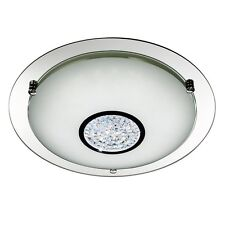 LED Ceiling Light Home Lighting Crystal Chrome Mirrored Round Glass Flush Plate