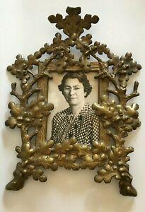 Antique Victorian Cast Iron Oak Leaf Picture Frame