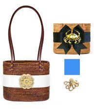 Bosom Buddy Charlotte Medium Bag in Brown w/ Blue Bow & Gold Octopus Charm, New
