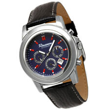 ROUSSEAU CODA MENS AUTOMATIC WATCH NEW FREE USA S-H NAVY BLUE DIAL BLACK LEATHER