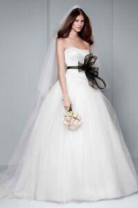 White by Vera Wang Draped Taffeta Wedding Dress Size 10