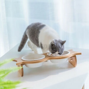 Double Elevated Pet Bowl Cat Dog Puppy Feeder Food Water Raised Lifted Stand