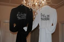 2xLuxury Soft Fleece Embroidered Engagement Wedding Gift Dressing Gown Bathrobe