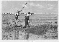 HUNTING RAIL SHOOTING BY A. B. FROST SPORTSMEN HUNTERS MARSH BOAT HUNT ENGRAVING