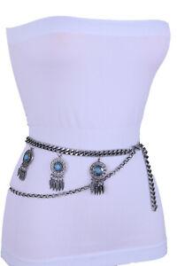 Women Belt Silver Metal Chain Feather Turquoise Blue Bead Charm Plus Size XL XXL