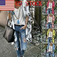 US Women 3/4 Sleeve Floral Chiffon Casual Loose Kimono Cardigan Capes New GIFT