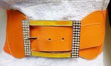 Ladies Waist Elastic Orange Wide Belt W/ Rhinestones Square Buckle S M L