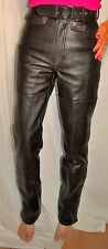 HARLEY DAVIDSON HEIN GERICKE HEAVY LEATHER PANTS W/BELT SNAP LEG Size 28 PERFECT
