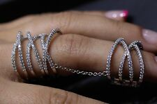 SLAVE RING .925STERLING SILVER & MICRO-PAVE DOUBLE BAND W/CONNECTING CHAINS
