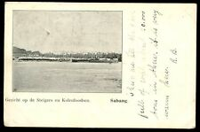 Dutch East Indies Sumatra SABANG harbour steamer at coal sheds early c1903 PPC