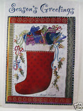 Laurel Burch Christmas Card Red Stocking with Presents Seasons Greetings New