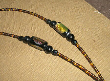 Dichroic glass/black crystal/mixed browns beaded Eyeglass holder chain