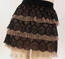 Jupe YANNICK CX Lolita Volant marron dentelle T UNIQUE = 36 38 40 S M L NEUF