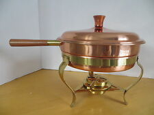 """Tagus 9"""" Copper Clad SS Pan Brass Stand and Burner & Double Boiler Pan Portugal"""