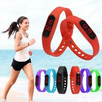 Kids Mens Ladies Silicone Red LED Rubber Bracelet Touch Digital Wrist Watch Gift