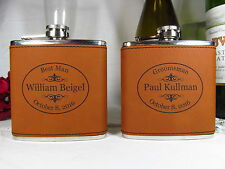 5 Personalized Engraved Flasks Groomsman Groomsmen Best Man Leather RWHD OVAL