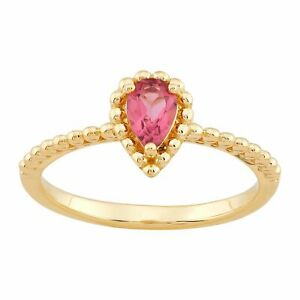 Welry 'Pear-Cut Pink Tourmaline Beaded Ring' in 10K Yellow Gold, Size 7