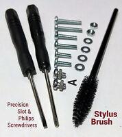 Headshell Cartridge 19Pc Screw Kit Needle Stylus Cleaner Brush M44 Shure 644