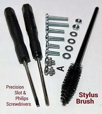Headshell Cartridge 19Pc Screw Kit Screwdriver Needle Stylus Cleaner Brush Shure