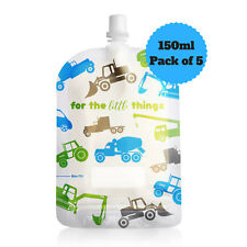 NEW Sinchies 150ml Trucks Reusable Food Pouches Top Spout BPA Free Pack of 5