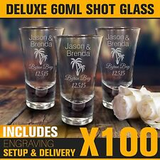 d125f628f0f3 100x 60ml Engraved Shot Glasses Wedding Favour Gift Bomboniere Hens Bucks  Party