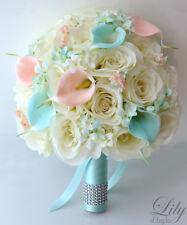 17pcs Wedding Bridal Bouquet Set Silk Flower Decoration PEACH TIFFANY BLUE