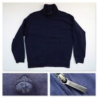 Brooks Brothers Mens Navy Full Zip Cotton Pullover Golf Sweater Jacket Large