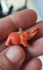 14K Yellow Gold & Genuine Hand Carved Salmon Pink Coral Elephant Pendant