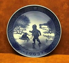 "ROYAL COPENHAGEN Denmark Kai Lange LITTLE SKATERS 7"" Plate Christmas 1965 NICE!!"