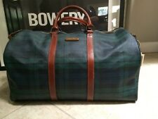 Vintage Ralph Lauren Green Plaid Duffle Boston Bag Large PVC Leather