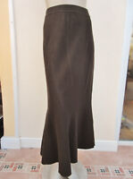Marc Cain - BNWT -Womens Dark Brown 100% Virgin Wool Classic Midi Skirt - size 5
