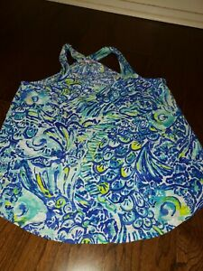 Lilly Pulitzer Cordelia Top Blue Crush After Party XS Vibrant Blue Racer Back