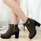 Winter Women's Buckle Lace Up Platform High Heel Shoes Short Ankle Martin Boots