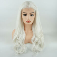 Meiyite Hair Wavy Long 24inch White Realistic Synthetic LaceFront Wig