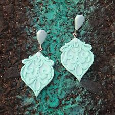 handmade polymer clay mint green bohemian gipsy drop wedding earrings jewelry