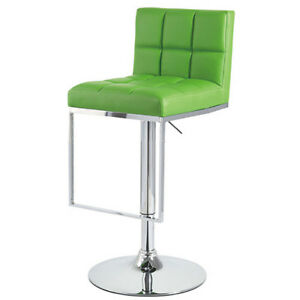 """NEW!  """"LEATHER"""" BAR/COUNTER STOOL ADJUSTABLE CHROME BARSTOOL - ALEX-SET OF 2 -GN"""