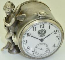Antique silvered Russian desk clock.Sculpture of an angel