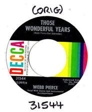 """WEBB PIERCE.THOSE WONDERFUL YEARS / IF THE BACK DOOR COULD TALK.U.S.ORIG 7"""".VG+"""