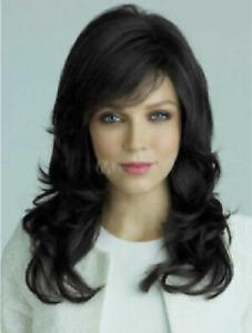 100% Human Hair New Fashion Beautiful Women's Long Natural Black Wavy Full Wigs