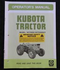 GENUINE KUBOTA M7500 M7500DT M 7500 DT TRACTOR OPERATORS MANUAL VERY NICE