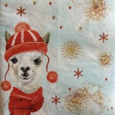 paper napkins decoupage x 2 Christmas llama 21cm