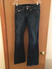 TRUE RELIGION WOMENS JEANS, 25X33, MID-RISE, BOOT-CUT, PINK CRYSTALS RARE!
