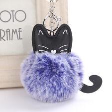Cartoon Cat Fluffy Ball Key Chain Pompom Animal Tail Rabbit Fur Car Bag Keyring