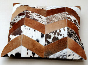 """New COWHIDE Cushion Covers Leather Pillow Patchwork Cushion # 74(18""""x18"""")"""